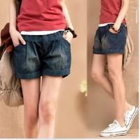 2014 mm plus size 200 loose jeans female roll up hem short trousers