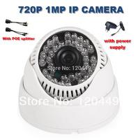 Free shipping POE splitter easy use H.264 1.0MP Onvif 720P IP camera 36IR Dome Network Camera IP surveillance camera
