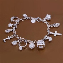 Free Shipping 925 silver bracelet, fashion jewelry charm bracelet 13 Pendants Bracelet H145(China (Mainland))