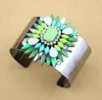 fashion trendy 2014 new gunmetal plated shourouk style crystal big bangle cuff bracelet for women