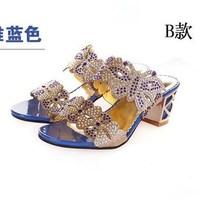 Women's sandals 2014 luxurious fashion rhinestone coarse cutout open toe sexy slippers