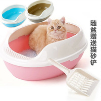 pet litter box closed cat toilet with cat litter shovel three layers with sheet grid