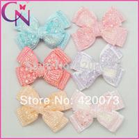 "Free Shipping 12 Pcs/lot 4"" Diamond Hair Bow For Kids,Baby Bling Hair Bow,Grosgrain Hair Bow Hair Clip  CNHB-1404292"