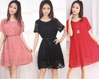 2014 new women sexy lace summer dress casual dress plus size dresses women clothing O-neck L,XL 6colors Excellent Quality
