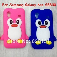 Free shipping 100pcs New Cute 3D Penguin Soft Silicone Case Skin Back Cover for Samsung Galaxy Ace S5830