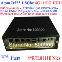 Embeded mini desktop pc Intel Atom D525 1.8Ghz 4 Gigabit Lan Firewall motherboard  4 way input and output GPIO 4G RAM 160G HDD