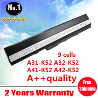 Replacement 9 cells laptop battery For ASUS A52 A52J K42 K42F K52F K52J K52JE K52JK K52Jr, A31-K52 A32-K52 A41-K52 A42-K52,