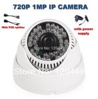 4pcs/a lot Free shipping POE splitter easy use H.264 1.0MP Onvif 720P IP camera 36IR Dome Network Camera IP surveillance camera