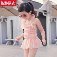 2014 child swimwear female child lace one-piece dress swimwear baby 1-10