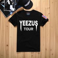 Fashion yeezus tour motorcycle o-neck casual short-sleeve T-shirt male