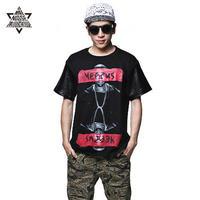 American street patchwork leather yeezus print short-sleeve T-shirt male T-shirt shirt round neck male
