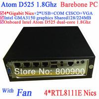 mini pc kaufen Barebone PC with fan Intel Atom D525 1.8Ghz 4 Gigabit Lan Firewall ITX motherboard  4-way input and output GPIO