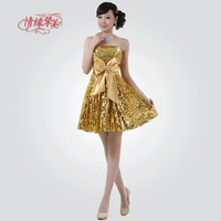 Performance formal dress yellow paillette formal dress short formal dress costume