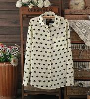 Sweet women white chiffon blouse black peach heart  print long-sleeved shirt loose chiffon fashion blouse top