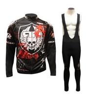 Free Shipping! ROCK Racing Winter Thermal Fleece Cycling Jersey Long Sleeve and Cycling (bib) Pants GTZ054