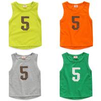 2014 summer Korean version of the new digital 5 models Boys Girls baby children vest T-shirt tx-3597
