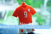 New!Free shipping 14 brazil world cup football fan key chain/ring with netherlands team logo&van persie's jersey no.fan souvenir