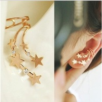 Korean Crystal Star Meteor Shower one pcs Non-pirecing Ear Cuff Clip Earring for women 2014 18k gold filled, nickel free