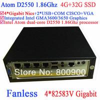 cheap pc fanless with Intel Atom dual core D2550 1.86Ghz 4*82583V Gigabit Nics Wake on LAN 12VDC 4G RAM 32G SSD Windows or Linux