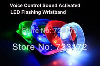 100pcs Fedex Free Voice Control Sound Activated LED Flashing Bracelet Glowing Shining Bracelets Bangle WristBand Wrist Strap