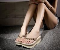 korean fashion platform slipper Bohemian sandal with rhinestone comfort  genuine leather wedges elegant concise wind 34-40