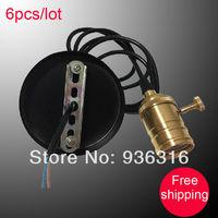 Free shipping Edison dedicated hanging wire Lamp Bases , retro nostalgic , E27 copper  knob switch lamp+ 1m wire
