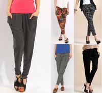 Wholesale European Hot Large Size Women Harem Pant Bloomers Mixed Styles Leggings Leopard Black Dot Casual Fashion Leggings Pant