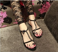 Women Flip-flop sandals  flat Crystal Snake sandals shoes 2014 New Style sapatos Black/ Red  Free Shipping NX65