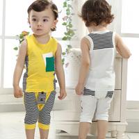 Children's clothing 2014 child  infant baby vest t-shirt shorts twinset male child 100% cotton summer set