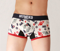 Free shipping 2014 quality male panties cartoon car pattern cotton trunk nk15 p16