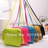 New 2014 Summer Candy Color tassel Women Messenger bag Shoulder bag Women Lady girl Leather Handbag Small Crossbody bag Bolsa
