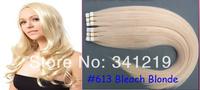 "Mac makeup Cheapest PU Tape hair extensions brazilian virgin hair straight  #613 Bleach Blonde 40pieces/pack 20""22""24""26""28""30"""