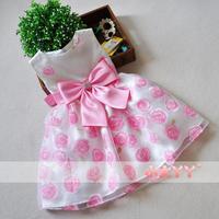2014 bow rhinestone rose princess dress child dress tulle female child summer party evening Dress