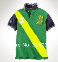 Fashion men t-shirts double horse logo on the shirts man short sleeve shirt/shirts free shipping