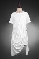 2014  free shipping men's short-sleeve t-shirt men non-mainstream faux two piece batwing fashion clothes t shirt top