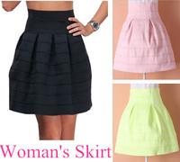 2014 High Quality Woman Skirt Wave Striped High waist short tutu skirts Elastic Ball Gown Skirt Pink/Black/fluorescent green
