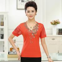 2015 Summer Loose Plus Size Women T-Shirt , Mother Clothing , V-Neck Short-Sleeve Embroidery Knitting Shirts