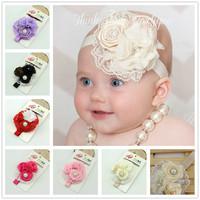 NEW 2014 Baby lace Headbands soft chiffon pearl rhinestone girls flowers Headbands kids hair wear children accessories 8pcs/lot