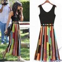 Brand New 2014 Women Sleeveless Slim Dress Fit O-neck Patchwork Stylish Colorful Striped Chiffon Beach Long Summer Dresses 01435