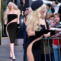 Sexy Celeb Gaga Style Mesh Inset Patchwork Bandage Bodycon Dress Clubbing Evening @P4118
