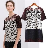 Women's 0133 spring z 2014 fashion color block decoration one-piece dress