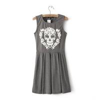Women's 0170 spring 2014 fashion a skull print one-piece dress