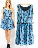 Women's 0260 spring 2014 fashion a bird cage print pattern one-piece dress