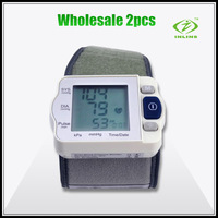 2pcs/lot Portable Household Digital Wrist Blood Pressure Monitor Heart Beat Meter Sphygmomanometer  tonometer Free Shipping