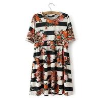 Women's 0180 spring 2014 fashion a faux silk print one-piece dress