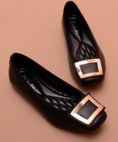 Tsh casual all-match single shoes flat square heel toe fashion metal decoration black flat plus size shoes