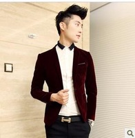 Fashion casual  velvet men's clothing suit fashion slim Wine red male civies  jackets blazer suit for men blaser