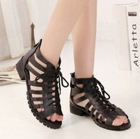 Women Sandals 2014 Summer Cool Boots Fish Head Hollow Cross Lacing Gladiator Sandals Open Toe Cutout Ankle Boots Summer Shoes