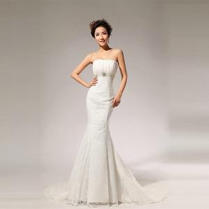 2014 Новый стиль личности мода бежевый талия без бретелек фиштейл свадебное платье для женской одежды