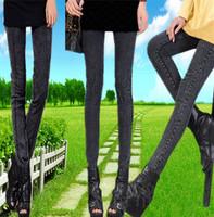 Spring and autumn legging faux denim thin female plus size pants elastic slim pencil pants